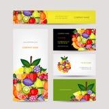 Tarjetas de visita diseño, fondo de la fruta Fotos de archivo libres de regalías