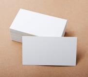 Tarjetas de visita en blanco Foto de archivo libre de regalías