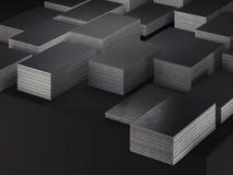 Tarjetas de visita en blanco negras fijadas en el fondo negro, representaci?n 3d Copie el espacio stock de ilustración