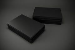 tarjetas de visita negras en blanco 3d Fotografía de archivo libre de regalías