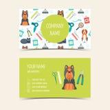 Tarjetas de visita para la preparación animal Productos promocionales Diseño plano Vector Fotos de archivo libres de regalías