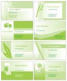 Tarjetas de visita verdes Foto de archivo