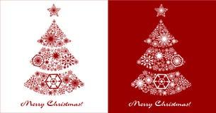 Tarjetas del Año Nuevo Árbol de navidad festivo en un backgr blanco y rojo stock de ilustración