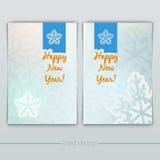 Tarjetas del Año Nuevo con los copos de nieve Imagen de archivo libre de regalías