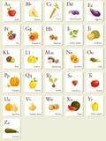 Tarjetas del alfabeto de las frutas y verdura Imágenes de archivo libres de regalías