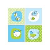 Tarjetas del aviso de la llegada del bebé Fotos de archivo libres de regalías