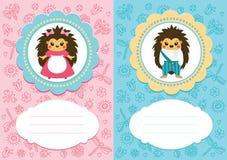 Tarjetas del bebé con los erizos Fotografía de archivo libre de regalías