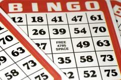 Tarjetas del bingo Fotografía de archivo libre de regalías