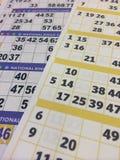 Tarjetas del bingo Imagen de archivo