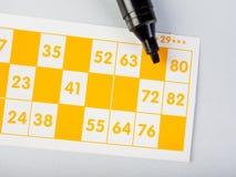 Tarjetas del bingo con la etiqueta de plástico Imagen de archivo libre de regalías