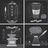 Tarjetas del café - estilo de la pizarra Fotos de archivo libres de regalías
