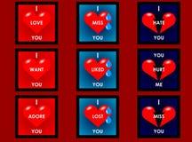 Tarjetas del corazón Fotos de archivo libres de regalías