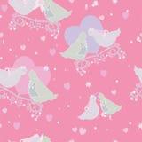Tarjetas del corazón de la paloma y del amor con el ornamental Fotografía de archivo