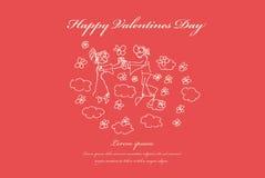 Tarjetas del día de San Valentín, casandose la tarjeta de felicitación stock de ilustración