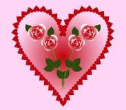 Tarjetas del día de San Valentín con los corazones y las rosas Fotografía de archivo libre de regalías