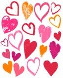 Tarjetas del día de San Valentín corazón, vector del dibujo de la mano Fotografía de archivo