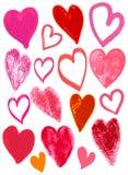 Tarjetas del día de San Valentín corazón, vector del dibujo de la mano Imagen de archivo libre de regalías