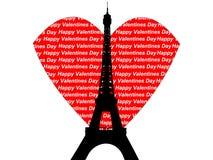 Tarjetas del día de San Valentín de la torre Eiffel Fotografía de archivo libre de regalías