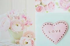Tarjetas del día de San Valentín del amor Imagen de archivo