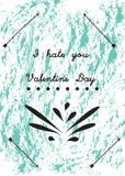Tarjetas del día de San Valentín del odio Imágenes de archivo libres de regalías