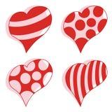 Tarjetas del día de San Valentín del vector de los corazones fijadas Fotos de archivo
