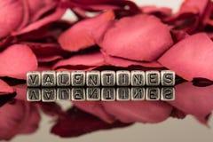 Tarjetas del día de San Valentín en gotas con los pétalos color de rosa Foto de archivo