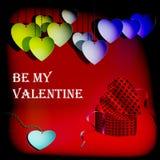 Tarjetas del día de San Valentín gifting la caja con los corazones Foto de archivo