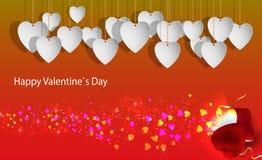 Tarjetas del día de San Valentín gifting la caja con los pequeños corazones fotos de archivo