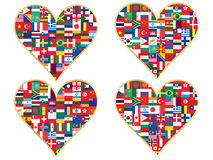 Tarjetas del día de San Valentín hechas de iconos de las banderas Fotografía de archivo
