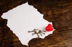 Tarjetas del día de San Valentín mensaje y corazón Fotografía de archivo