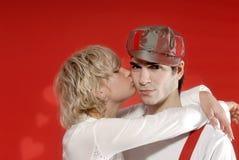 Tarjetas del día de San Valentín muchacha y muchacho Imagen de archivo