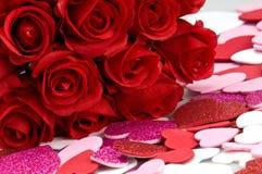 Tarjetas del día de San Valentín rojas de la American National Standard de las rosas Imagen de archivo libre de regalías