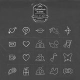 Tarjetas del día de San Valentín y sistema dibujado mano del icono del bosquejo del amor stock de ilustración