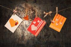Tarjetas del día de tarjeta del día de San Valentín Fotos de archivo