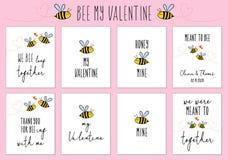 Tarjetas del día de tarjeta del día de San Valentín con la abeja linda, sistema del vector fotografía de archivo libre de regalías