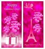 Tarjetas del día de tarjeta del día de San Valentín con la torre Eiffel ilustración del vector