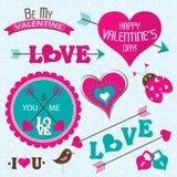 Tarjetas del día de tarjetas del día de San Valentín con los ornamentos, vector Fotos de archivo
