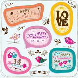 Tarjetas del día de tarjetas del día de San Valentín con los ornamentos, vector Fotografía de archivo