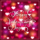 Tarjetas del día de San Valentín que ponen letras en fondo rosado con los corazones brillantes Fotografía de archivo