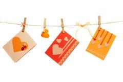 Tarjetas del día de tarjeta del día de San Valentín Foto de archivo libre de regalías