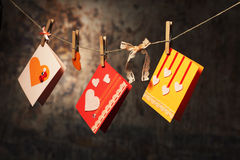 Tarjetas del día de tarjeta del día de San Valentín Fotos de archivo libres de regalías