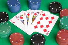 Tarjetas del póker con rubor recto Fotos de archivo