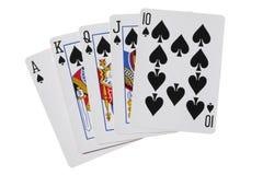 Tarjetas del póker de las espadas de la escalera real con la trayectoria de recortes imágenes de archivo libres de regalías