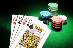 4 tarjetas del póker de los reyes Foto de archivo