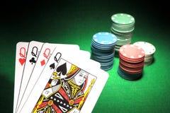 4 tarjetas del póker del Queens Foto de archivo