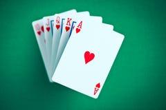 Tarjetas del póker. rubor imagen de archivo libre de regalías