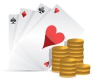 Tarjetas del póker y dinero de juego Imágenes de archivo libres de regalías