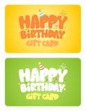 Tarjetas del regalo de cumpleaños. Fotografía de archivo