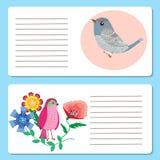 Tarjetas del ` s de los niños con las tarjetas lindas de los pájaros, del saludo o de la invitación, Fotos de archivo libres de regalías