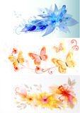 Tarjetas del vector del asunto con diseño elegante de las flores Imagenes de archivo